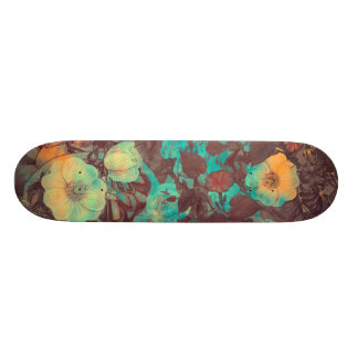 skateboard flowers orange green