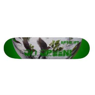 Skateboard Go Green Globe Flying Birds