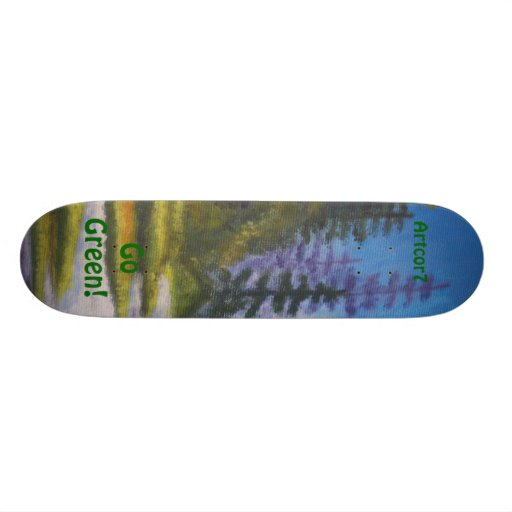 Skateboard Go Green River Pine Forest Painting