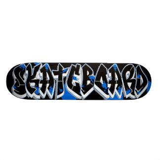 Skateboard graffiti style blue and black