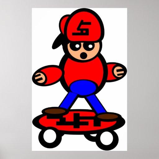 Skateboard Kid Cartoon Poster Print