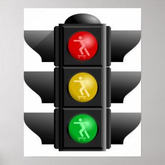Skateboard Land Rec Traffic Signal Poster