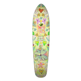 Skateboard Leaves Hearts Flowers Green Multi