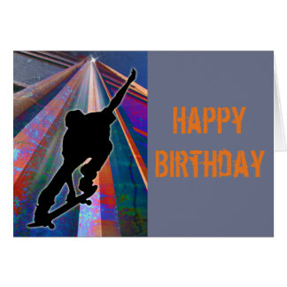 Skateboard on a Building Ray Greeting Card