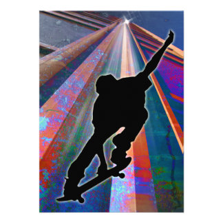 Skateboard on a Building Ray Personalized Invitation