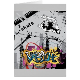 Skateboard Skateboarder SK8 Skate Graffiti Greeting Card