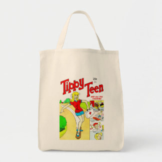 Skateboard Teen Girl Cartoon Grocery Tote Bag