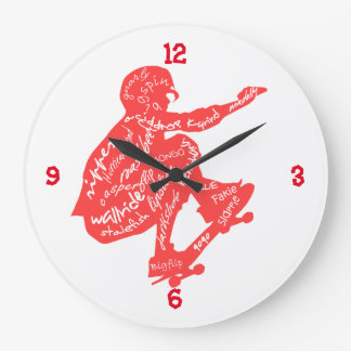 Skateboard Typography - Wall Clock