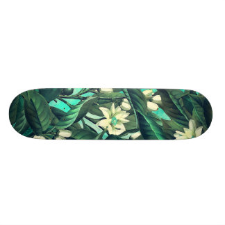 skateboard white flowers