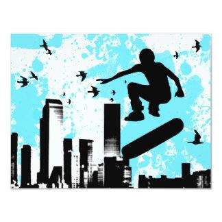 skateboard with birds : cityscape card