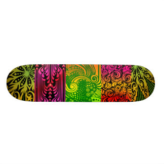 Skateboard with Neon Abstract Graphics