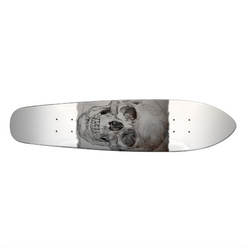 Skateboard with skull design on it.