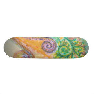 Skateboard with Swirly Feathery Design