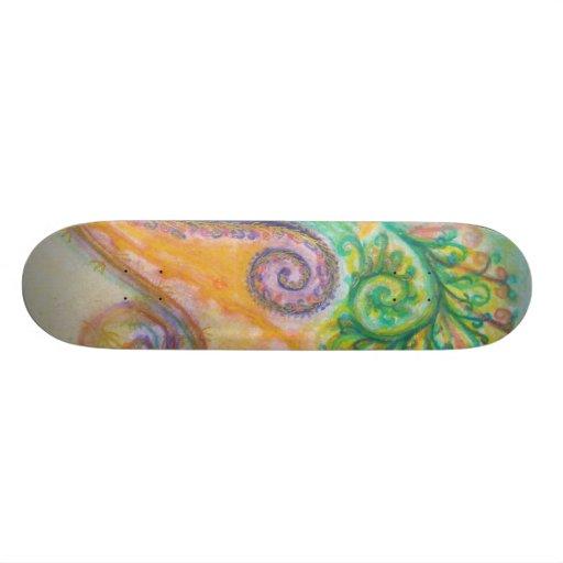 Skateboard with Swirly Feathery Design