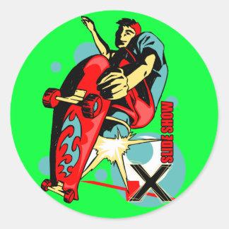 Skateboard X slide show Round Sticker