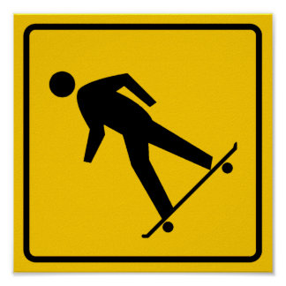 Skateboard Zone Highway Sign Poster