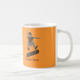 Skateboarder and name on mugs
