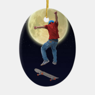 Skateboarder Get Some Air Action Street Kulcha Art Ceramic Oval Decoration