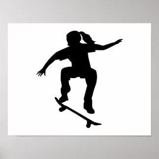 Skateboarder girl poster