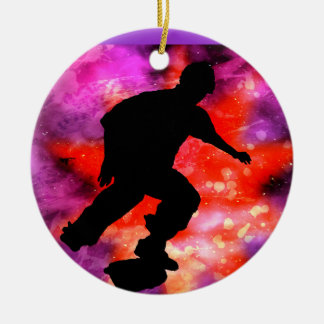 Skateboarder in Cosmic Clouds Round Ceramic Decoration