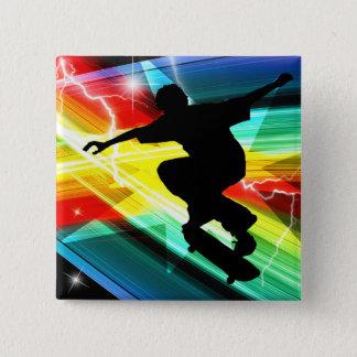 Skateboarder in Criss Cross Lightning 15 Cm Square Badge