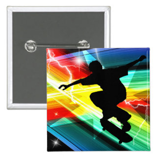 Skateboarder in Criss Cross Lightning 15 Cm Square Badge