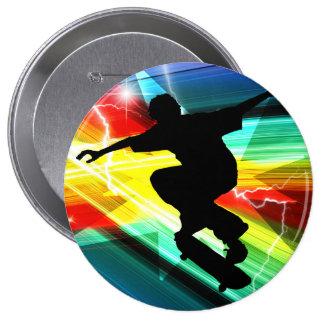 Skateboarder in Criss Cross Lightning 10 Cm Round Badge