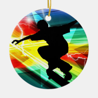 Skateboarder in Criss Cross Lightning Christmas Ornament
