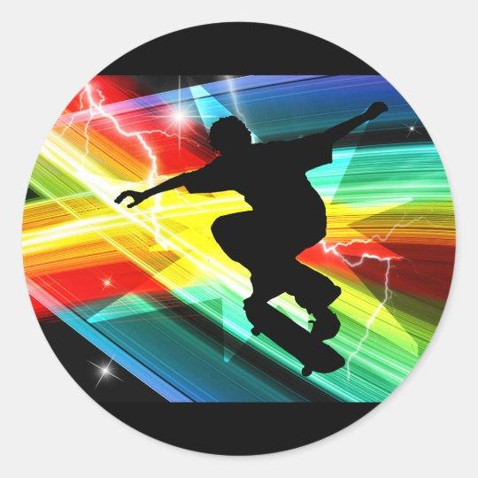 Skateboarder in Criss Cross Lightning Classic Round Sticker