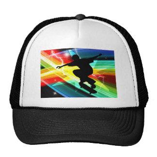Skateboarder in Criss Cross Lightning Hats
