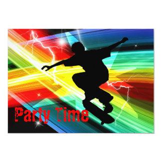 Skateboarder in Criss Cross Lightning Party Card