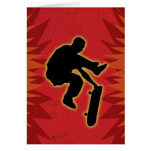 Skateboarder In Flames Cards