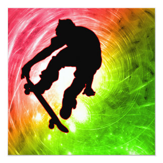 Skateboarder in Psychedelic Cyclone 13 Cm X 13 Cm Square Invitation Card