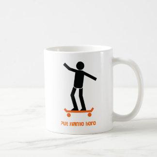 Skateboarder on his skateboard custom coffee mug