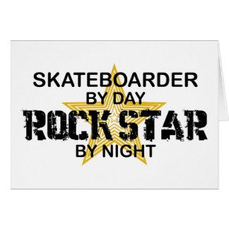 Skateboarder Rock Star by Night Greeting Card