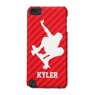 Skateboarder; Scarlet Red Stripes iPod Touch (5th Generation) Cases