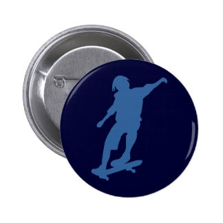 Skateboarder Silhouette Pin Back Button