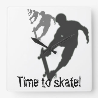 Skateboarder Square Wall Clock
