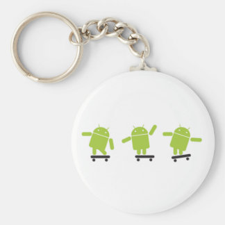 Skateboarding Android Basic Round Button Key Ring
