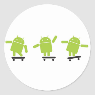 Skateboarding Android Round Sticker