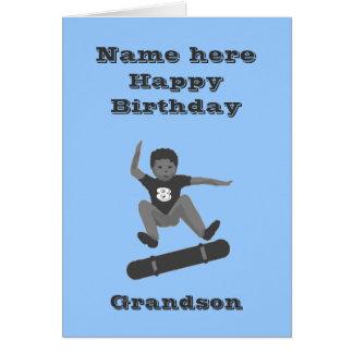 Skateboarding Boy, Grandson Birthday add name age Greeting Card