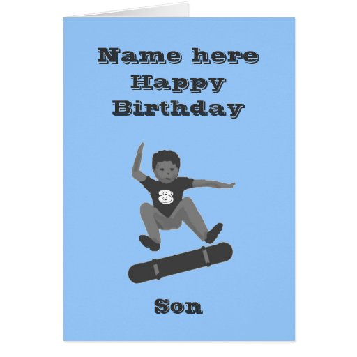 Skateboarding Boy, Son Birthday card add name age