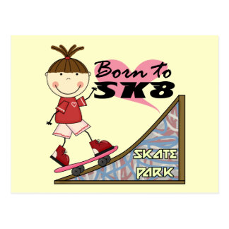 SKATEBOARDING - Brunette Girl Tshirts and Gifts Postcard