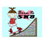 SKATEBOARDING - Brunette Girl Tshirts and Gifts Post Card