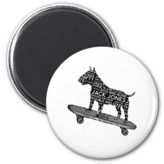 skateboarding bull terrier Cocney London Slang 6 Cm Round Magnet