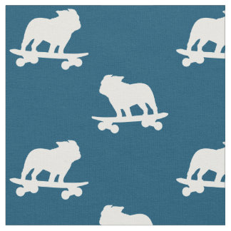 Skateboarding Bulldog Pattern Fabric