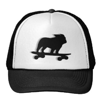 Skateboarding Bulldog Silhouette Cap