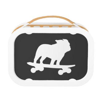 Skateboarding Bulldog Silhouette Lunch Box