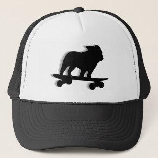 Skateboarding Bulldog Silhouette Trucker Hat
