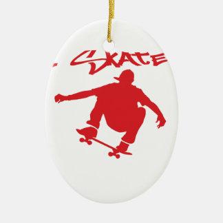 Skateboarding Ceramic Oval Decoration